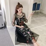2017夏季新款欧美女装显瘦网纱刺绣连衣裙蕾丝吊带裙两件套打底裙