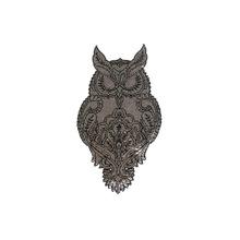 厂家直销高端2MM珠片亮片刺绣猫头鹰布贴章 服装辅料箱包布贴