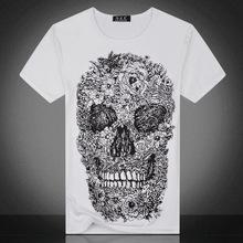 夏季亞馬遜男式骷髏頭外貿T恤青年休閑修身打底衫男裝速賣通批發