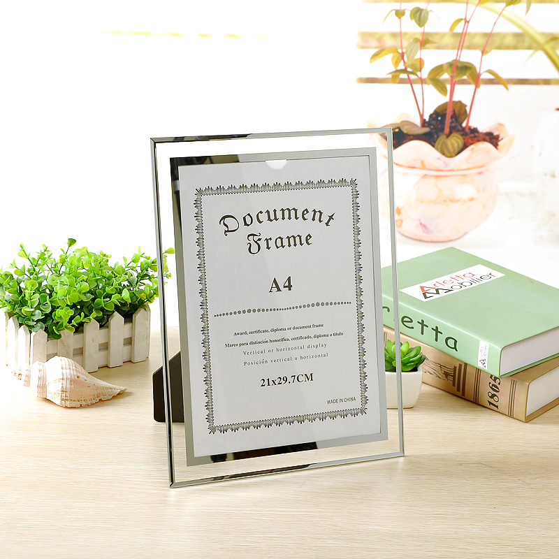 Factory Wholesale Crystal Glass Wedding Commemorative Picture Frame A4 Photo Studio Photo Frame Creative Certificate Frame Photo Photo Frame