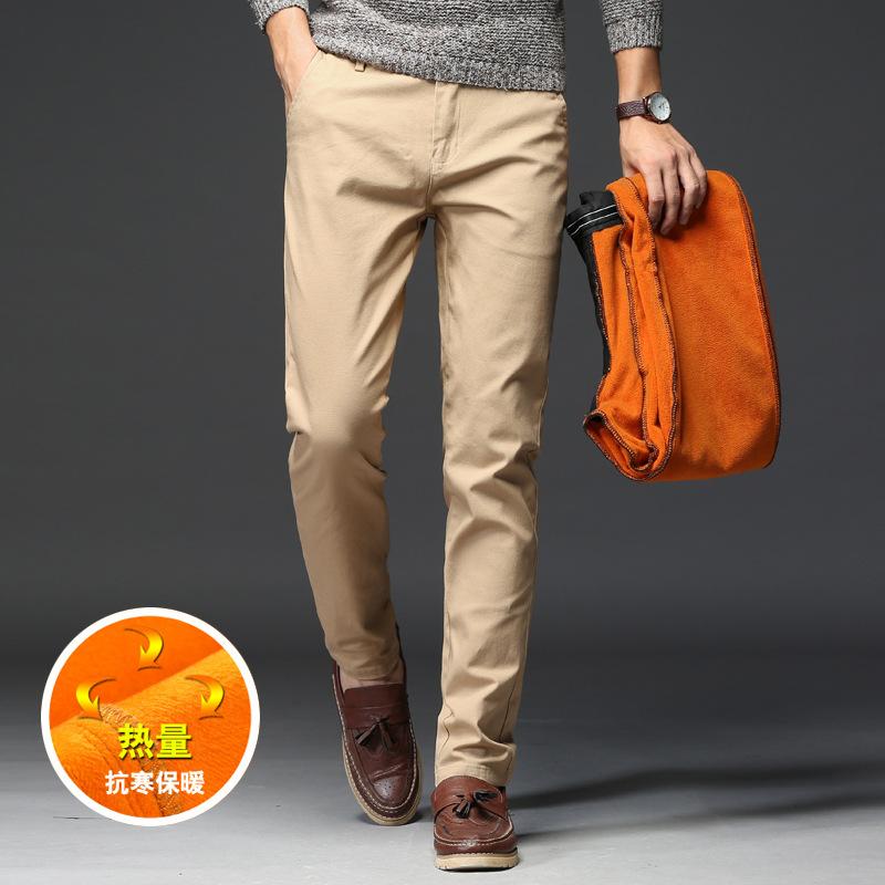2020冬季男式休闲裤加绒保暖纯色韩版修身男士休闲长裤