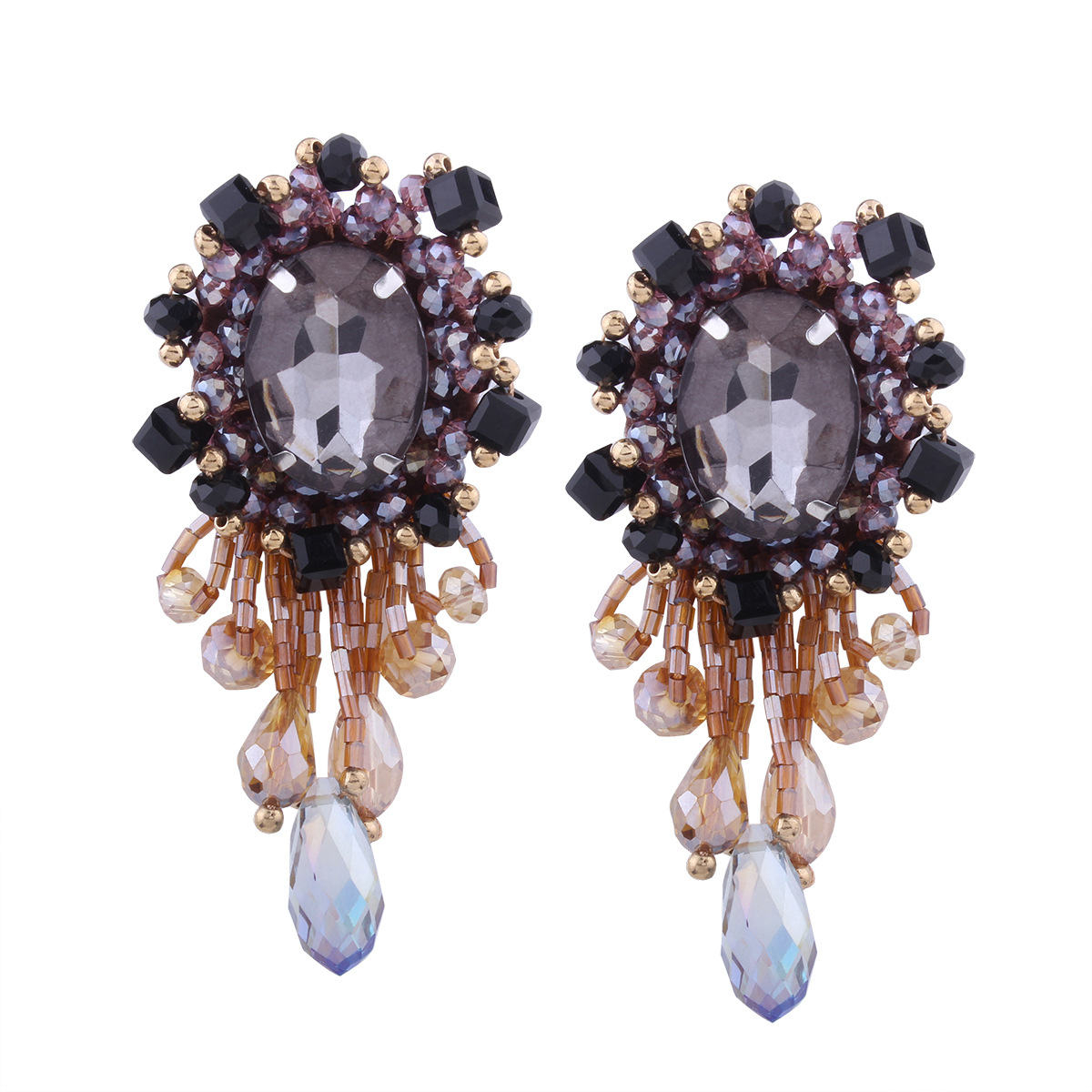 Retro alloy plating earring (Purple yellow)NHNMD3820-Purple yellow