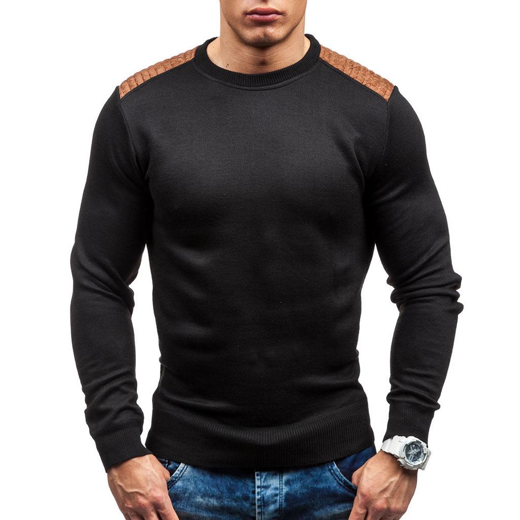 跨境2020外貿針織衫 韓版修身拼鹿皮潮圓領男士針織衫黑色毛衣W13