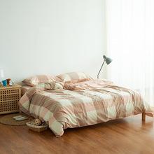 无印水洗棉四件套纯棉条纹格子套件素色新疆针织棉床上用品床单款