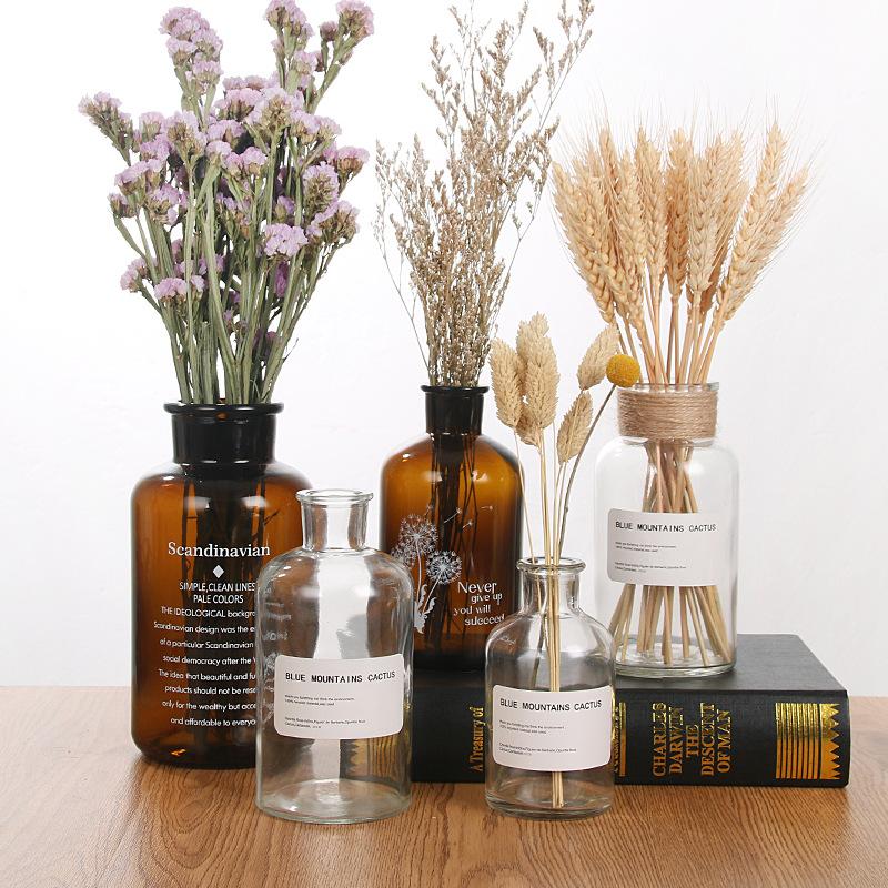 创意北欧玻璃花瓶水培花瓶现代简约干花花器北欧摆件家居装饰花瓶
