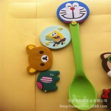 厂家现货 PVC卡通勺子 儿童软硅胶勺子头不锈钢勺子 动物头 423