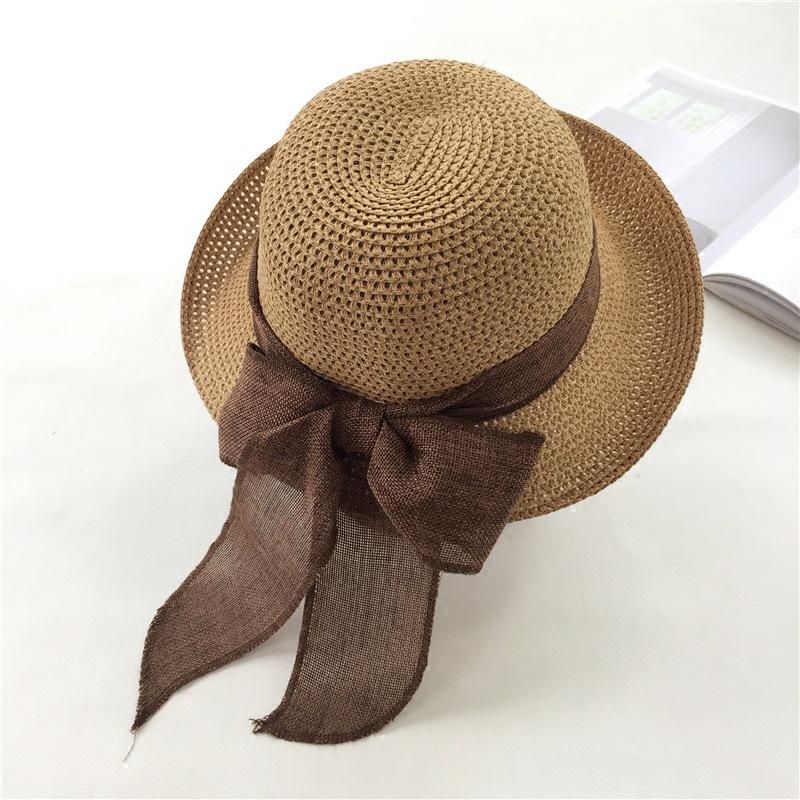 韩版蝴蝶结草帽沙滩帽子女夏天海边休闲百搭遮阳帽大檐帽度假凉帽