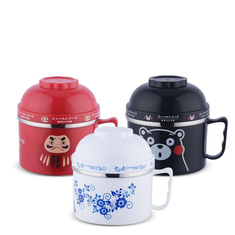 日式炫彩快餐杯 无磁加厚螺口快餐杯 不锈钢泡面碗 学生饭盒餐盒