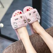 2018新款毛毛鞋女厂家批发韩版一字拖家居外穿防滑平底毛绒拖鞋女