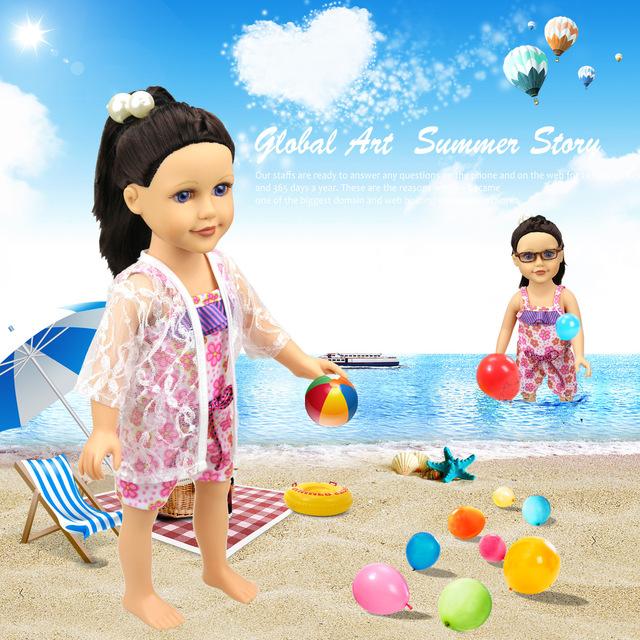 跨境专供18寸美国女孩娃娃衣服 娃娃泳衣五叶花联裤泳衣 厂价直销