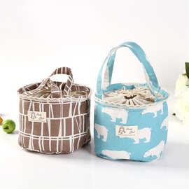 棉麻便当包饭盒包大号带饭包 学生保温袋手提冰包袋子饭盒袋