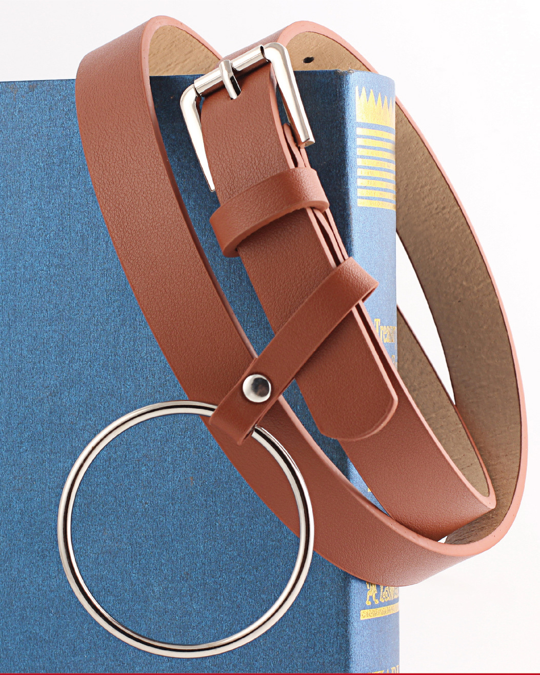 Round hanging metal buckle women's belt NHPO151790