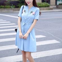 短袖襯衫式牛仔連衣裙2017夏裝新款女裝韓版繡花系帶棉牛仔裙子