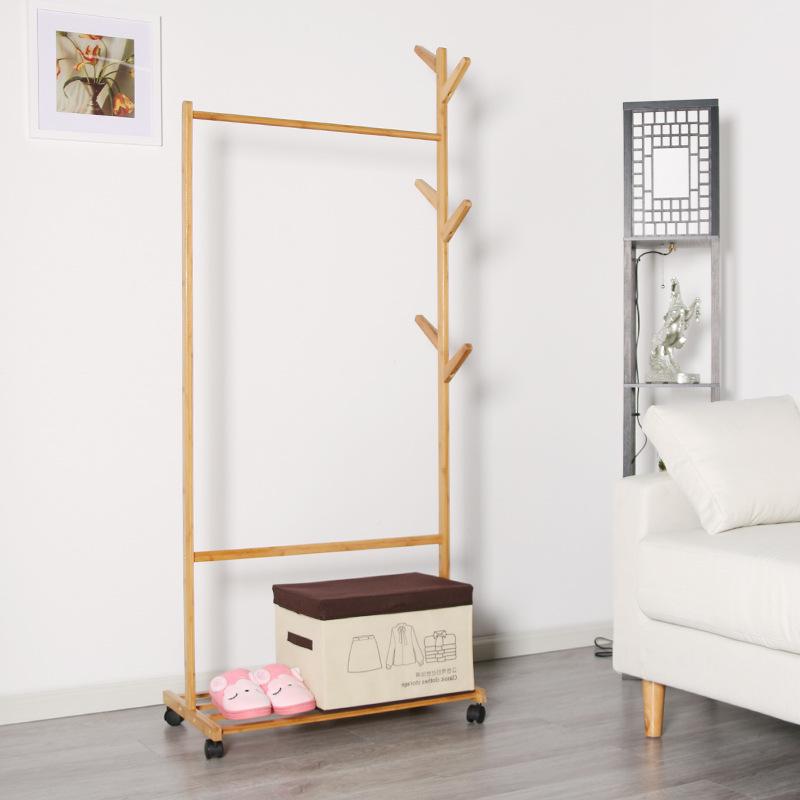 简易衣帽架楠竹创意客厅挂衣架实木落地衣服架子卧室移动收纳架子