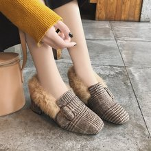 鞋子女冬款 韓版時尚皮帶扣方頭絨面復古粗跟高跟毛毛鞋加絨棉鞋