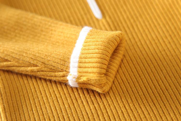 冬装新款韩版女童百搭撞色条保暖套头打底衫针织
