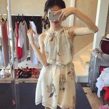 2018夏季新款韩版无袖露肩挂脖雪纺碎花中长款连衣裙女装