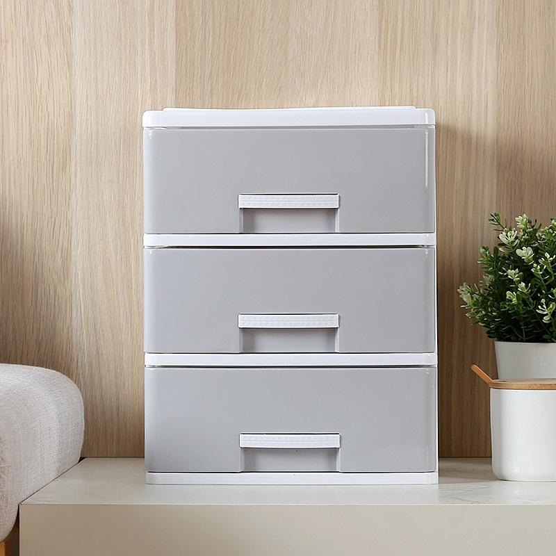 办公桌面收纳盒简约塑料小抽屉式收纳柜书桌上学生文件杂物储物箱