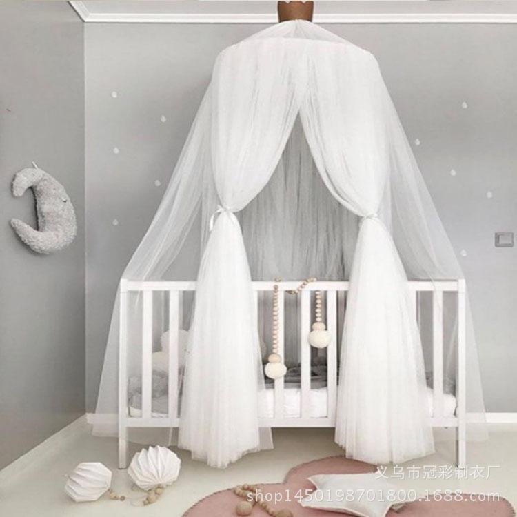 ins潮款儿童房圆顶婴儿床蚊帐潮夏季宫廷风床幔免安装宝宝防蚊罩
