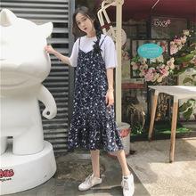 实拍2018春夏女装新款连衣裙女韩版碎花荷叶边宽松雪纺吊带连衣裙