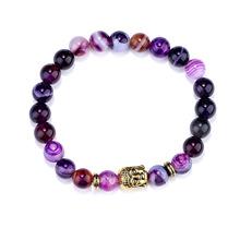 紫色瑪瑙手鏈 瑜伽佛教轉運手串 速賣通ebay廠家直銷8cm能量串珠