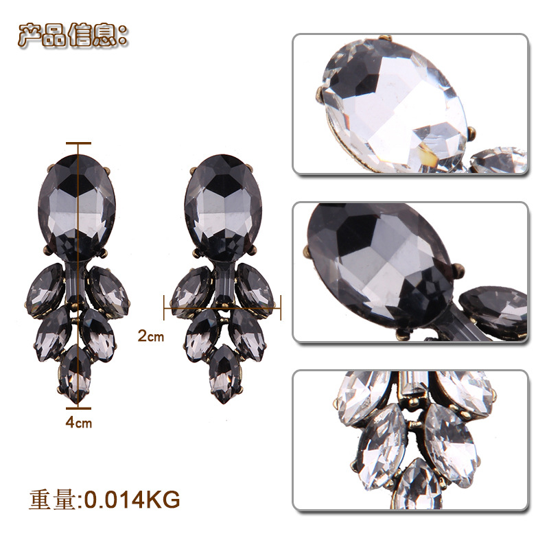 Occident and the United States alloy Rhinestone earring (black)  NHJQ8322