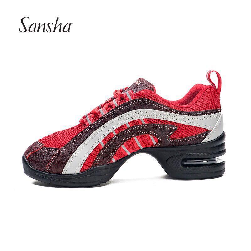 法国三沙正品现代跳舞鞋运动舞蹈鞋透气网面低帮增高连底气垫H45