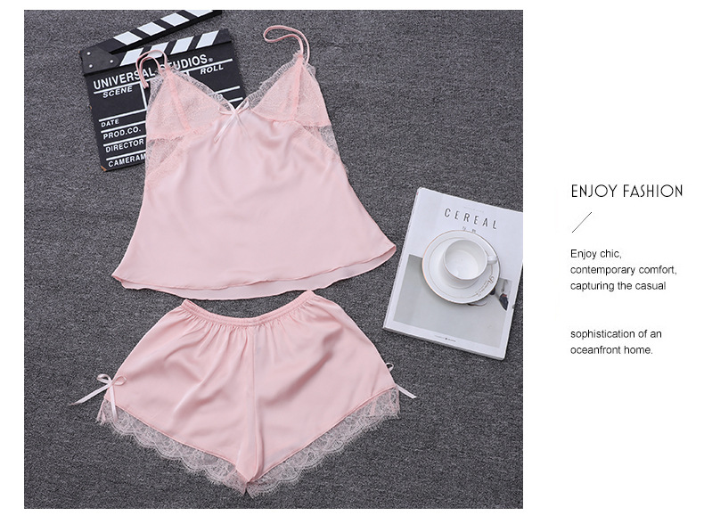 Summer suspenders shorts pajamas   simulation silk sweet sexy backless  two-piece suit thin V-neck  home service nihaojewelry wholesale NHMR217644