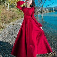 秋冬复古灯芯绒喇叭袖连衣裙红色大摆度假长裙显瘦收腰气质仙女裙