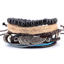 欧美热卖 手工编织麻绳羽毛多层木珠编织串珠蜡绳手链