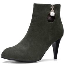 跨境新款大尺寸40-46码外贸短靴女超高跟绒面女鞋秋冬07-5
