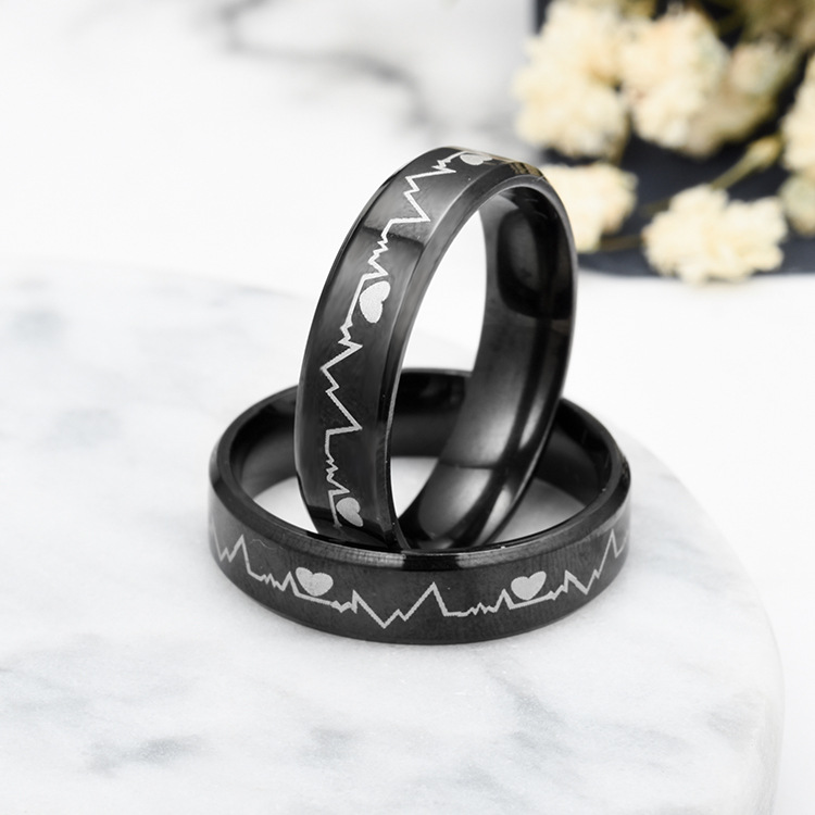 Titanium&Stainless Steel Korea Geometric Ring  (6MM black-5) NHTP0029-6MM-black-5