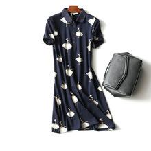 夏季短袖连衣裙女 韩版翻领印花t恤裙大码显瘦中长款棉质休闲裙子