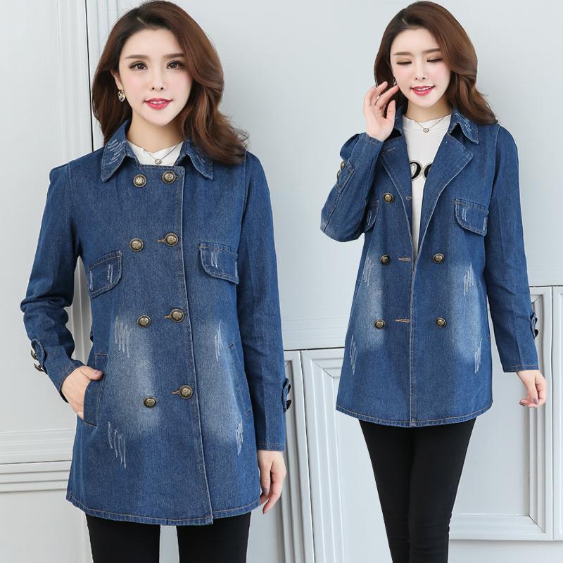 一件代发妈妈装秋装牛仔风衣中年女装春秋装中长款韩版大码外套