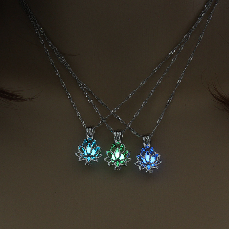 explosive fashion luminous multicolor hollow lotus alloy pendant accessories beads necklace for women NHAN241610