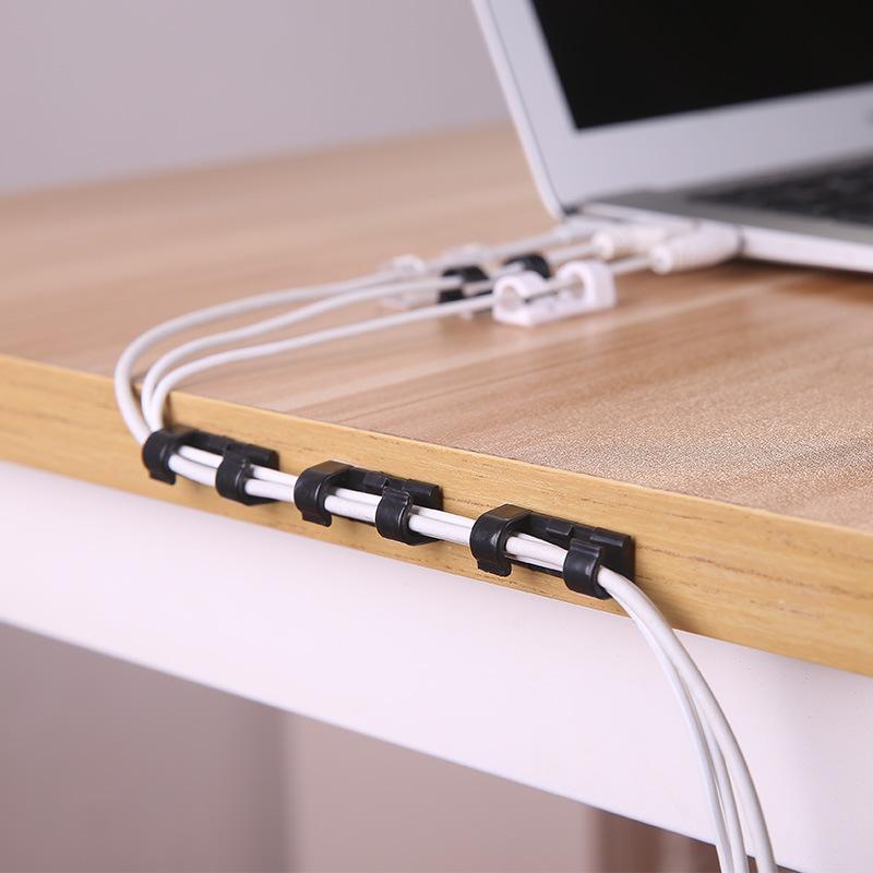 创意自粘式理线器 家用电线整理夹20个装桌面绕线器网线收纳线夹