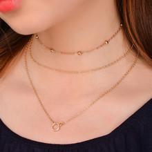 欧美跨境饰品 时尚潮流新款项饰 多层套装 铜珠吊坠锁骨项链 X007