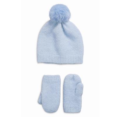 勇发服饰 冬季冰淇淋色  针织帽子女 毛线帽手套两件套套装定制