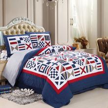 纯棉四件套 欧美床品三件套手工拼布印花绗缝被床盖定做 一件代发