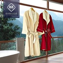 厂家批发星级宾馆卡丹绒双层复合浴袍 纯棉柔软吸水浴衣一件代发