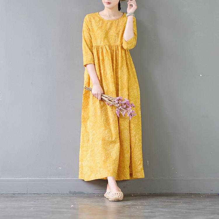 夏季精棉盐缩印花高腰中袖 女装连衣裙宽松新款文艺袍子 S377