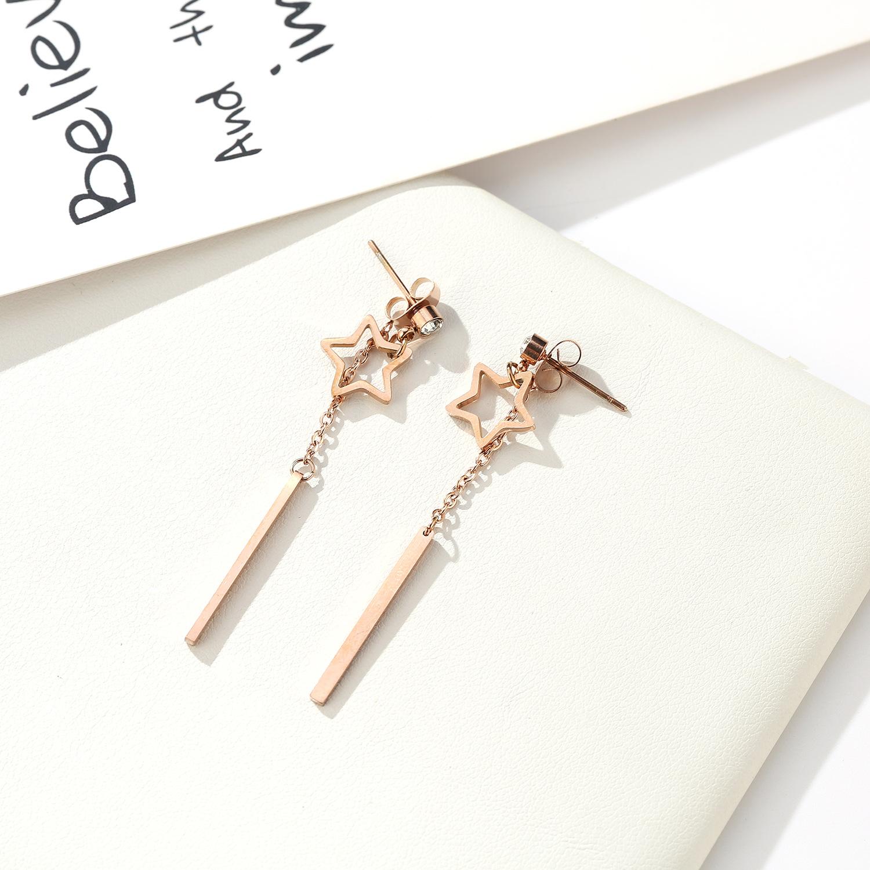 folk-custom metal plating Titanium steel earrings (Rose gold pair)NHIM0960-Rose gold pair