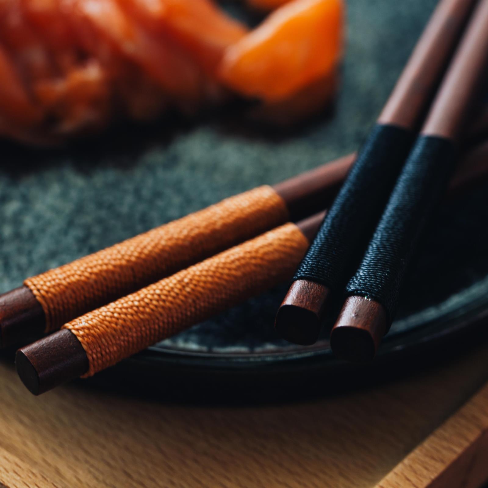 日式餐具复古绕线木筷子 创意铁刀木料理用绕绳筷杂货zakka