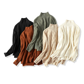 18 winter new products!Chic Rod Needle Twist Half-necked Loose Wool Knit Sweater