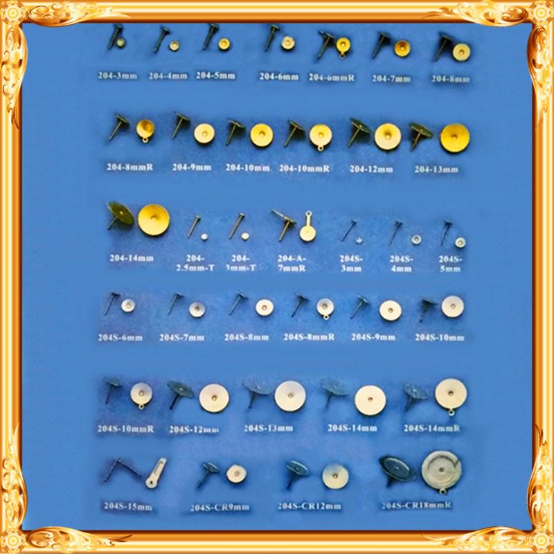 五金金属配件铜铁不锈钢纯钛925银钻石半球球形爪杯异形T平面耳针
