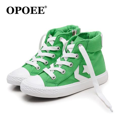 Bán buôn giày trẻ em Opoee 2019 mùa xuân nam và nữ phiên bản thời trang Hàn Quốc trong giày vải trẻ em 7021 Giày vải trẻ em