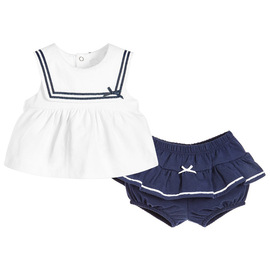 New Navy Girls' skirt Pure Cotton Baby clothing Baby going out suit 8006