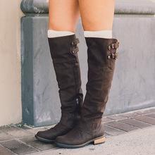 2017秋季新款长靴女 欧洲站纯色圆头女靴wish款式CB5391