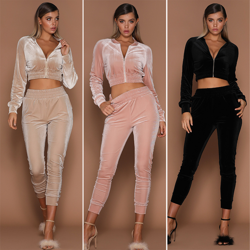 71884 Swan suede women's suit solid color sweater zipper sports autumn decoration body new one