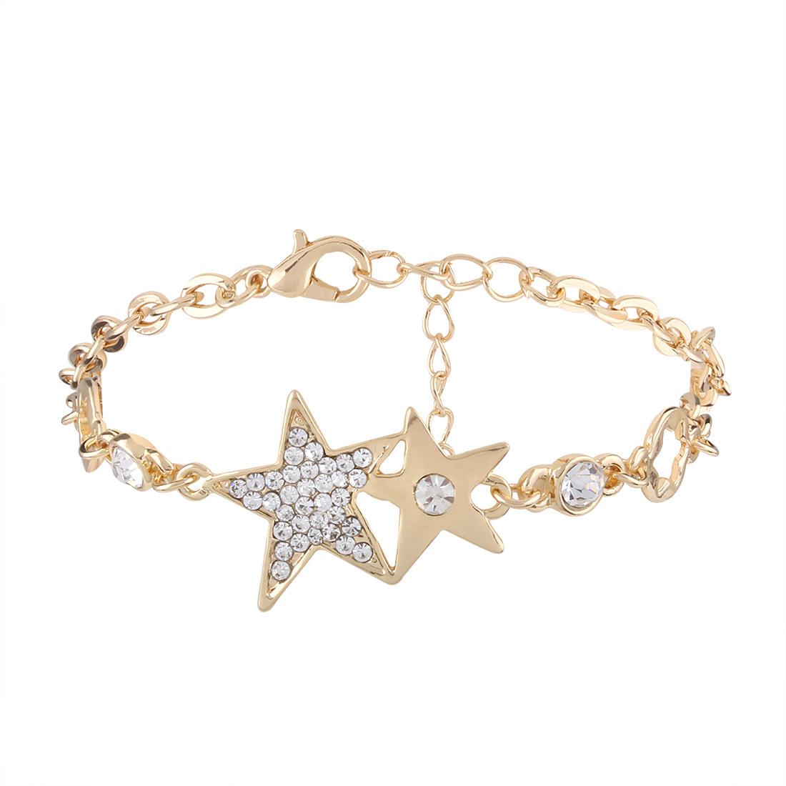 Simple alloy Diamond Bracelet (White k)NHNMD3789-White k